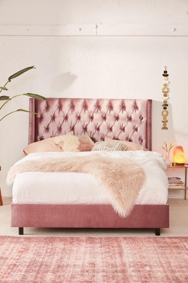 online retailer 8b340 0e47c Charlotte Velvet Tufted Wingback Bed