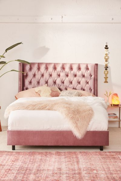 Charlotte Velvet Tufted Wingback Bed Urban Outfitters