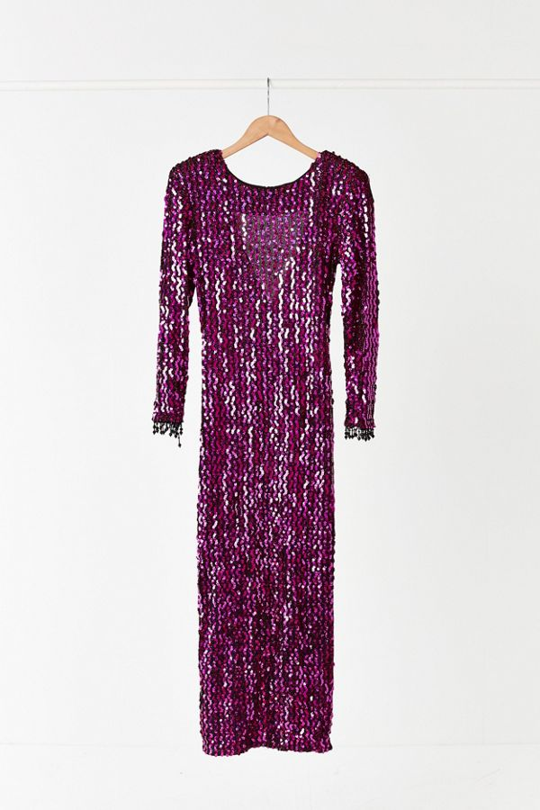 6741e095a4 Vintage '90s Pink Sequin Maxi Dress | Urban Outfitters