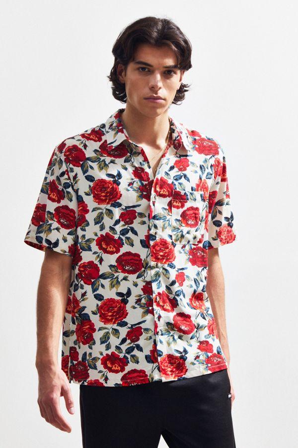 e5957c2df UO Wandering Rose Rayon Short Sleeve Button-Down Shirt   Urban ...