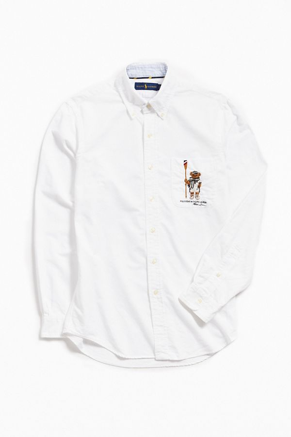 3dbb21bc Polo Ralph Lauren Embroidered Bear Oxford Shirt | Urban Outfitters