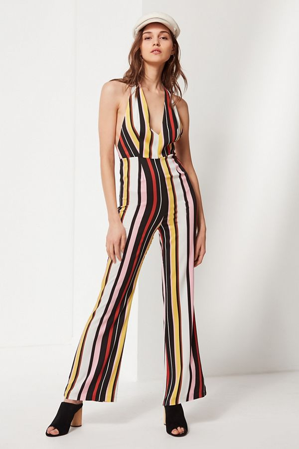 6b68a75e5a8 UO Shiloh Plunging Flare Jumpsuit