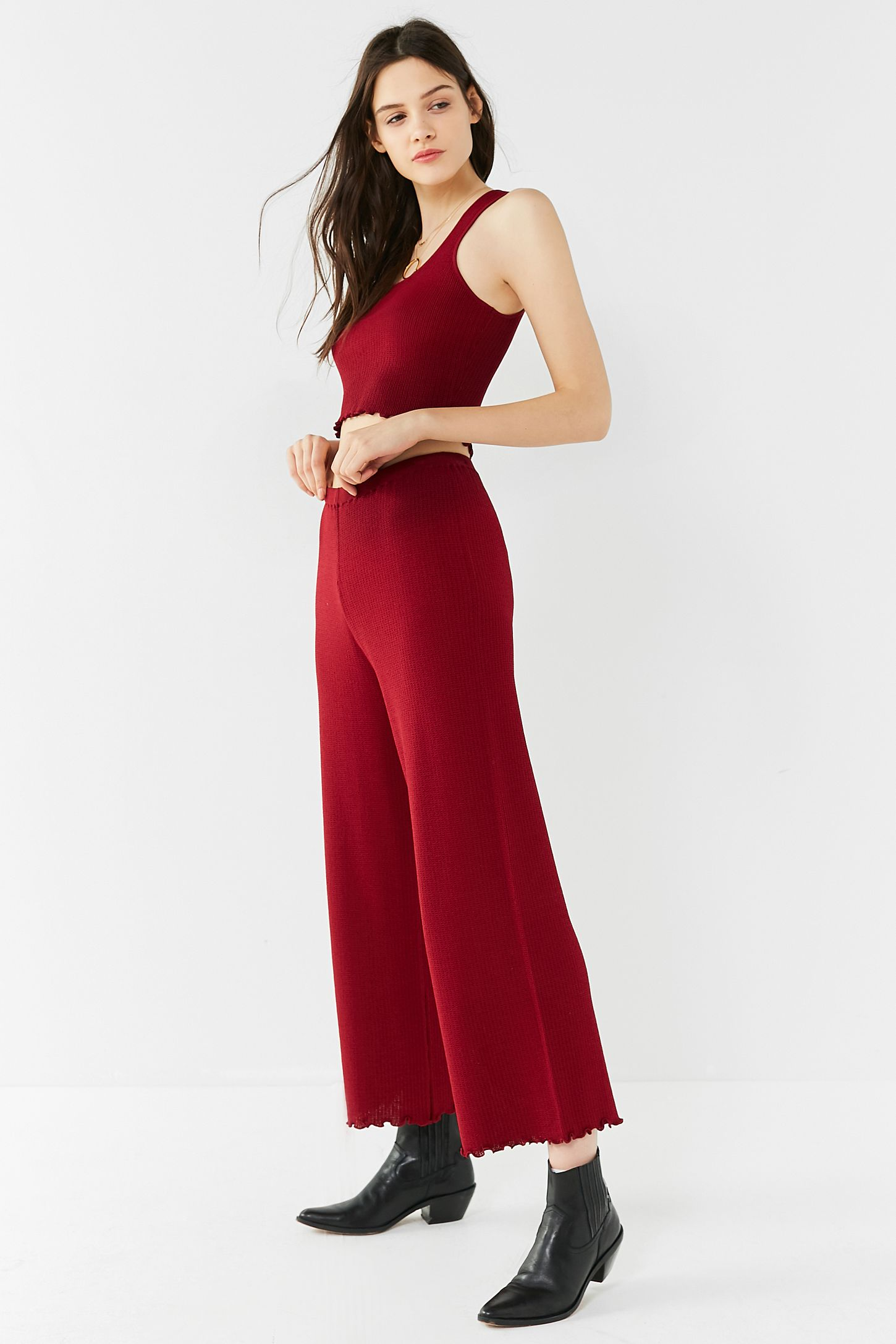 157223640355b UO Ribbed Knit Sweater Wide-Leg Pant