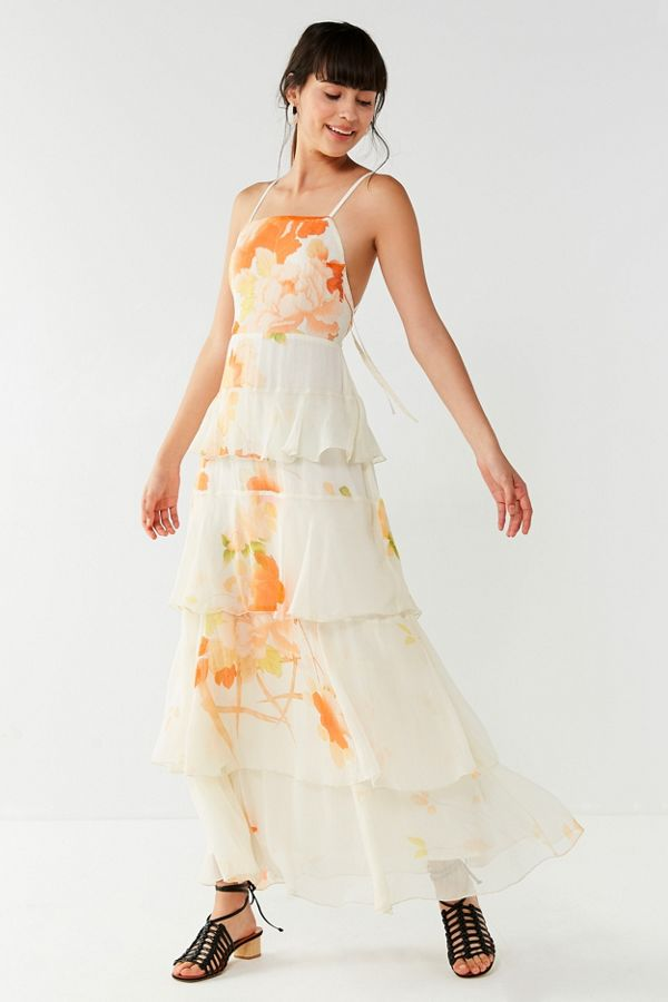 6230494249ff UO Tally Tiered Floral Maxi Dress | Urban Outfitters