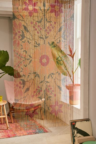 Rosa Floral Bamboo Beaded Curtain Urban Outfitters
