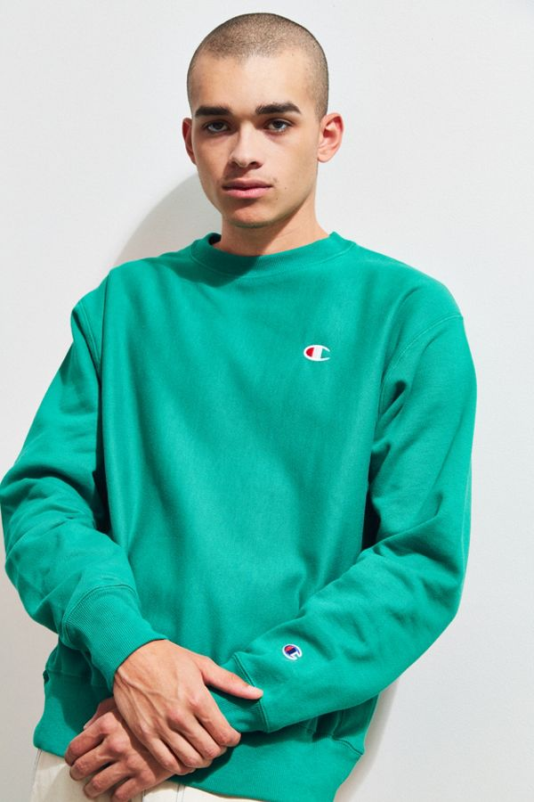 23c07293f119ad Champion Reverse Weave Green Fleece Crew Neck Sweatshirt