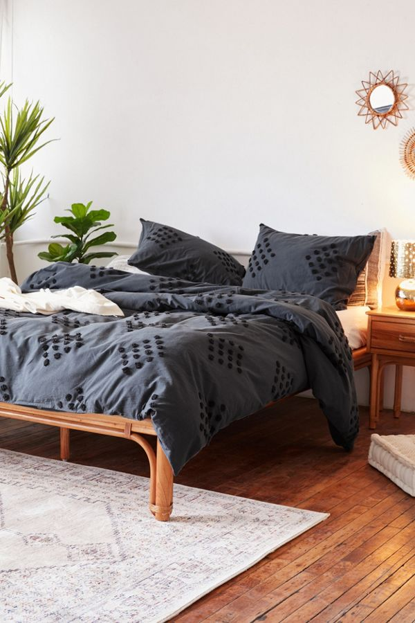 Slide View: 1: Tufted Geo Duvet Cover