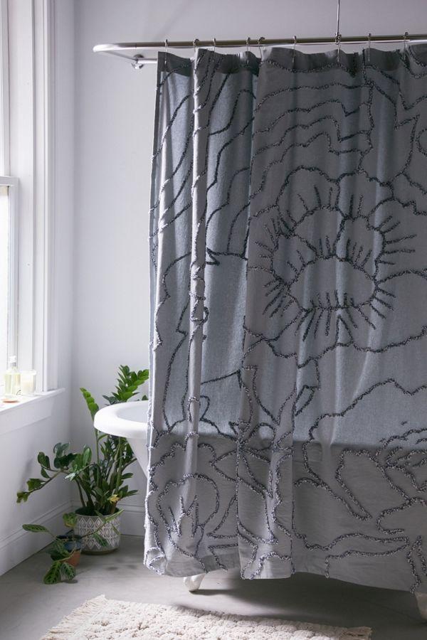 Slide View: 1: Margot Tufted Floral Shower Curtain