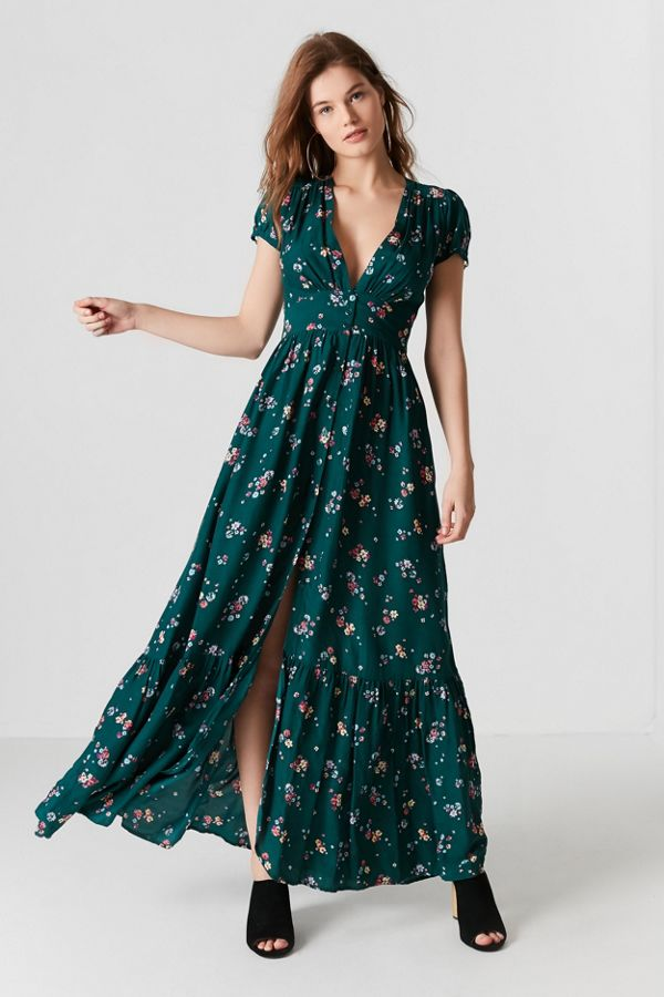 f5caef22b6 Auguste The Label Plunging Button-Down Maxi Dress