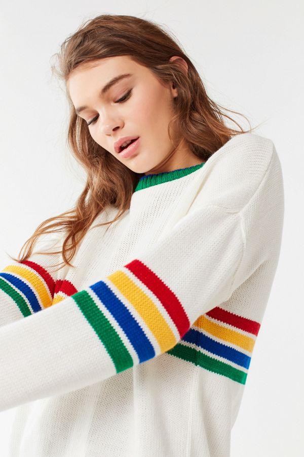 420e0a983 UO Bailey Rainbow Striped Sweater