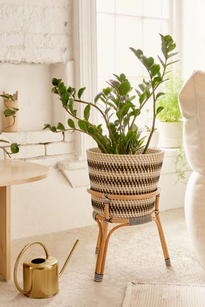 Urban Outfitters Black and White Woven Planter with Wood Legs