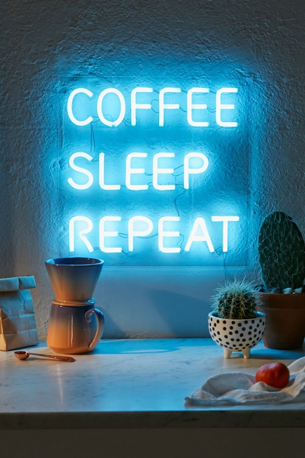 Coffee, Sleep, Repeat LED Neon Sign