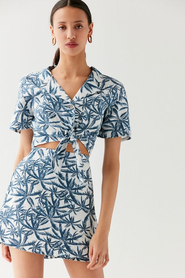 1ab99d19b7 Your Urban Outfitters Gallery. UO Linen Palm Tree Wrap Mini Skirt