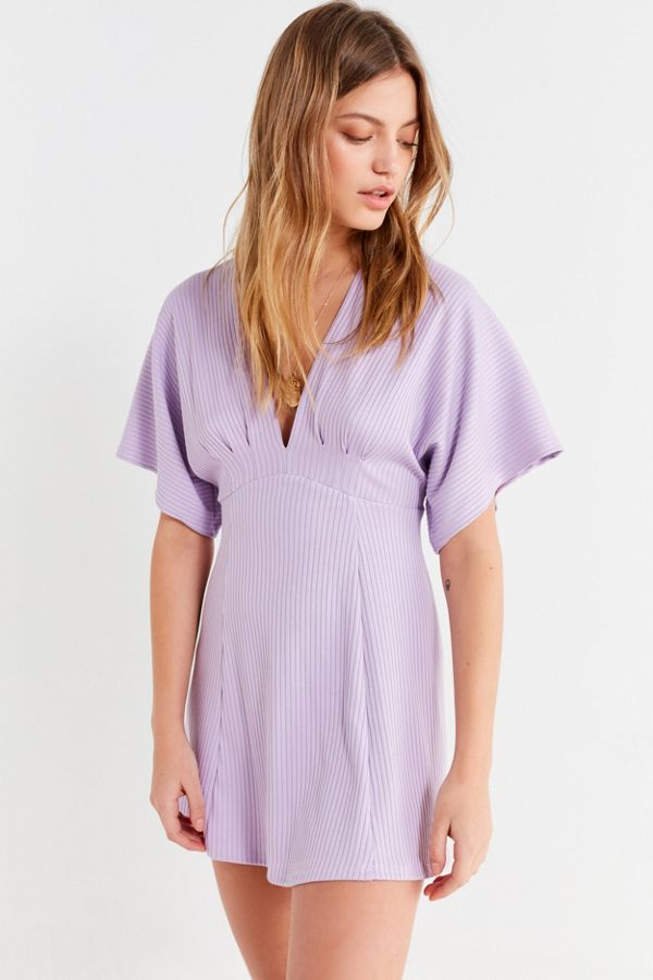 c5c988191850a UO Claudia Ribbed Knit Plunging Mini Dress | Urban Outfitters