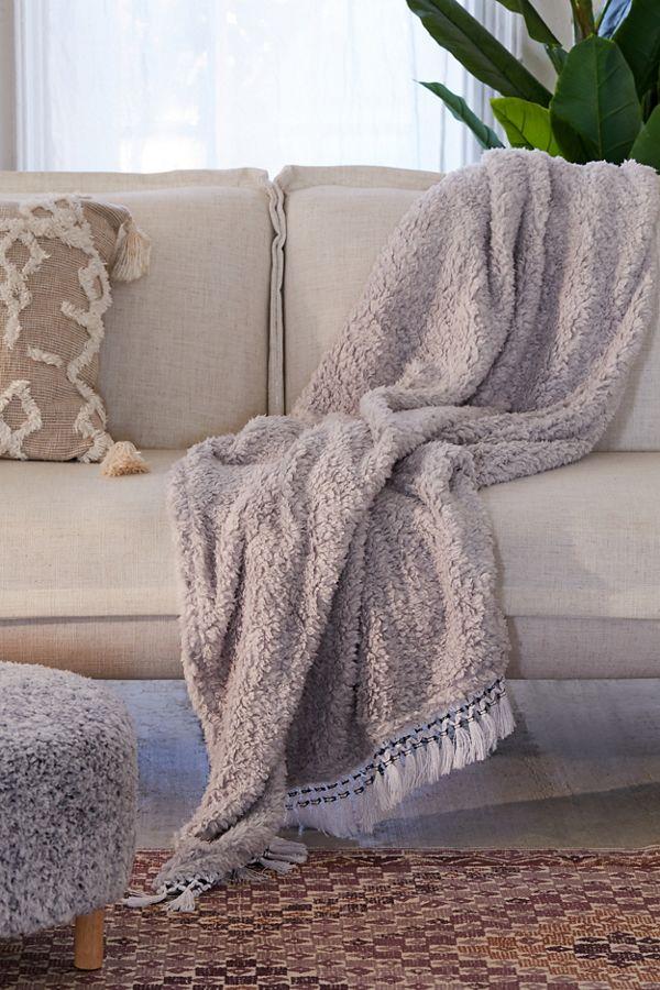 Amped Fleece Fringe Trim Throw Blanket Urban Outers