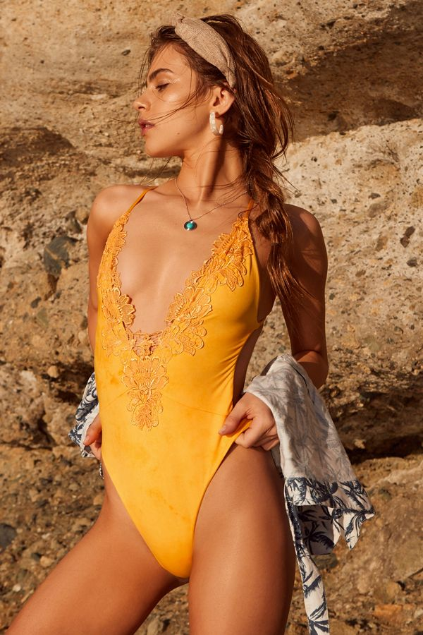 9d23e8700f8 Blue Life Eclipse Embroidered One-Piece Swimsuit | Urban Outfitters