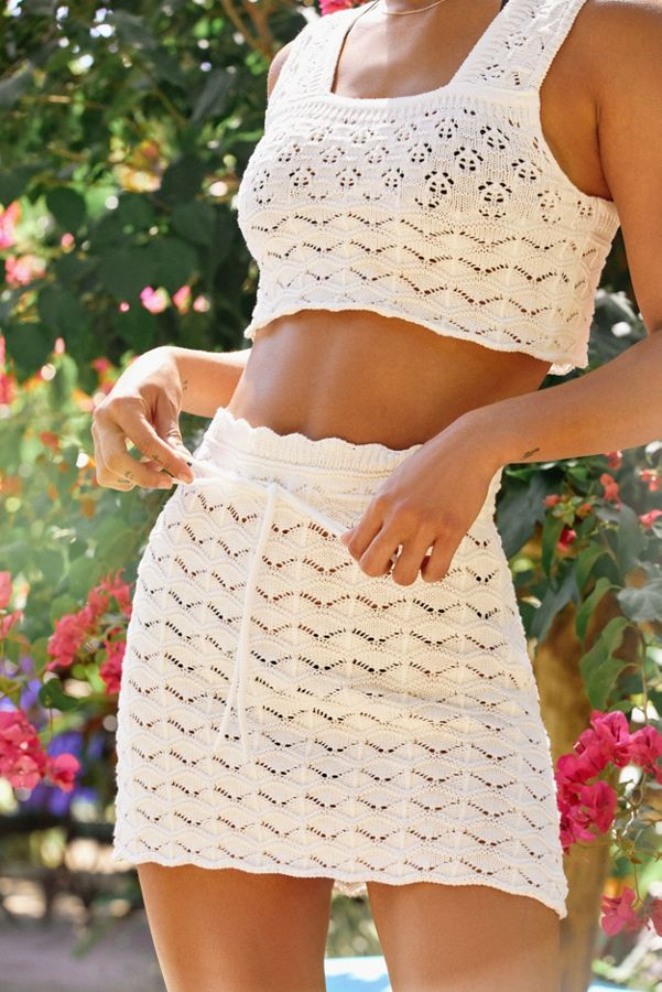 Uo Vanessa Crochet Cropped Top Urban Outfitters