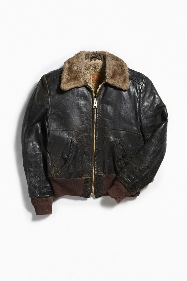 777fb2f19 Vintage Leather Fluffy Collar Bomber Jacket