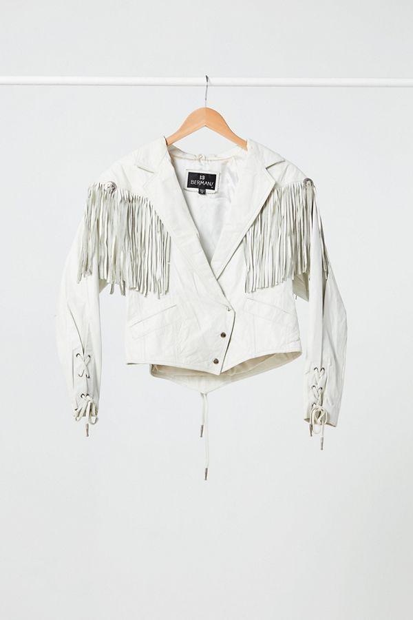 143a64e39 Vintage White Fringe Leather Jacket