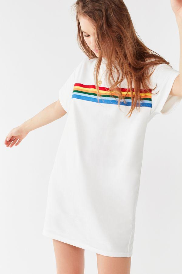 e4bea905a48a8 UO Rainbow Striped T-Shirt Dress | Urban Outfitters