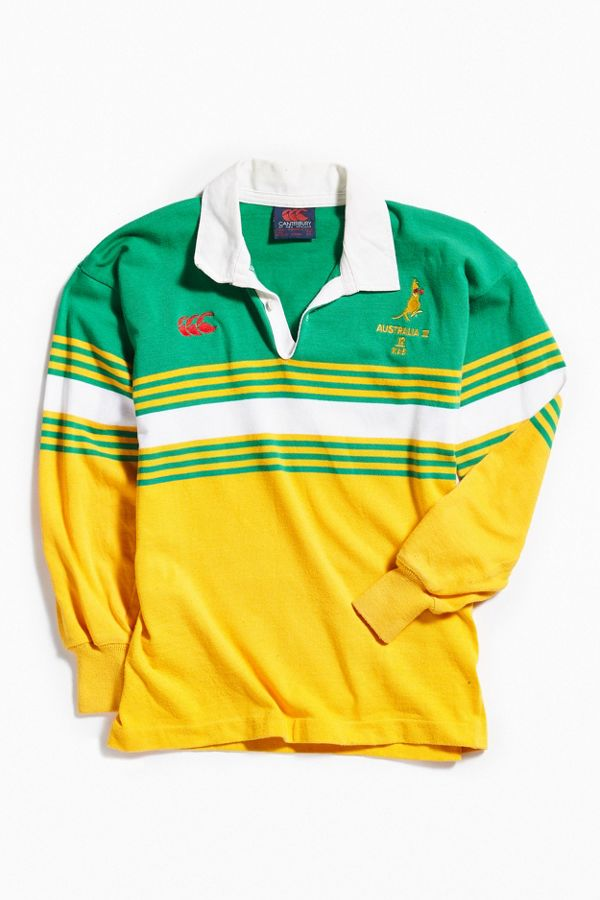 cb5e6d2f8c2 Vintage Canterbury Of New Zealand Australia Yellow + Green Rugby ...