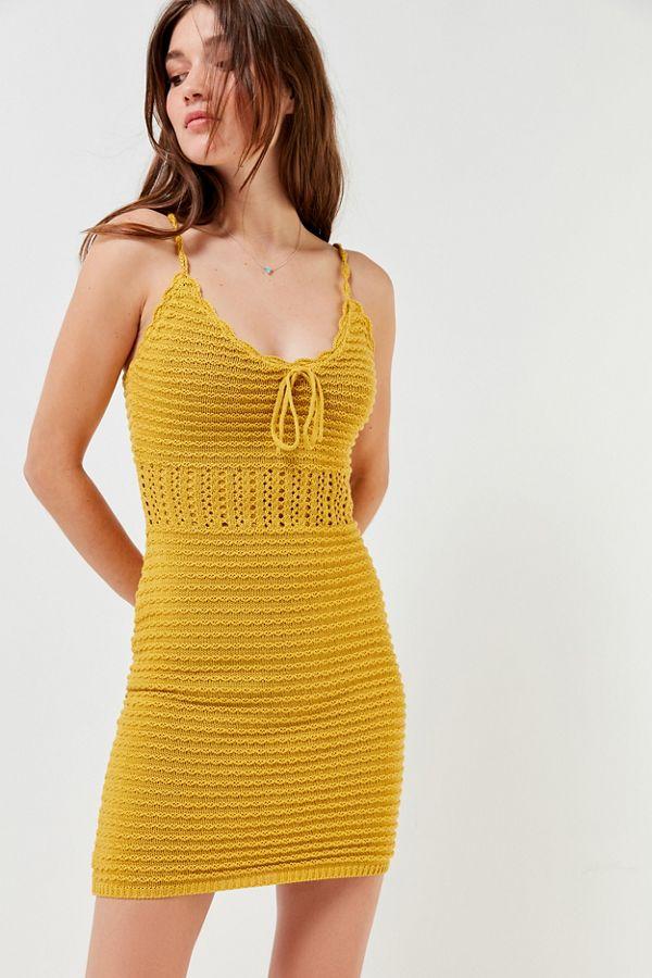 0a4e18cf664 UO Tie-Front Crochet Mini Dress