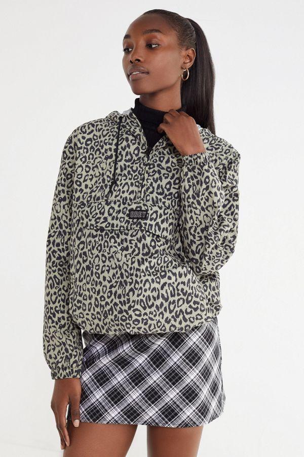 94316768e0b OBEY Sienna Leopard Print Anorak Jacket