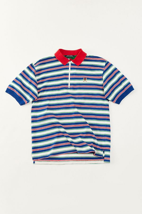 5e204532 Vintage Tommy Hilfiger '90s Stripe Zip Polo Shirt | Urban Outfitters
