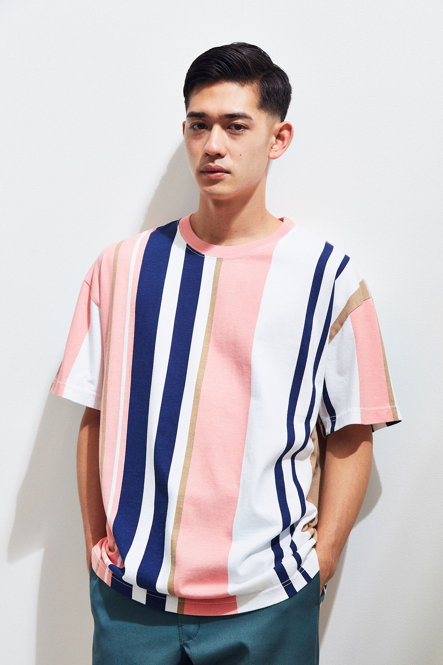 70bea7d5 UO Wide Vertical Striped Dad Tee | Urban Outfitters Canada