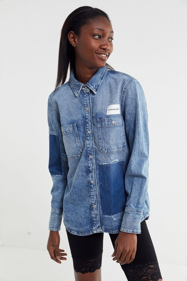 0e73ea5fa30 Calvin Klein Jeans Denim Patch Utility Shirt