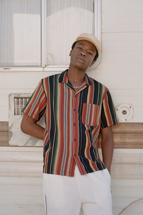 ad7cf5726 UO Colorful Stripe Short Sleeve Button-Down Shirt | Urban Outfitters