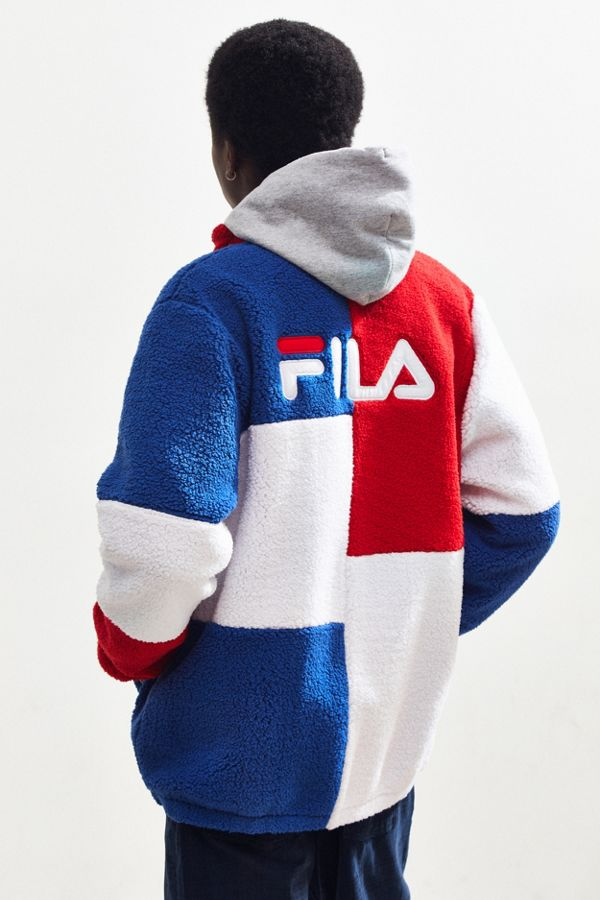 e05e96e79261 FILA UO Exclusive Chavis Colorblock Sherpa Jacket | Urban Outfitters ...