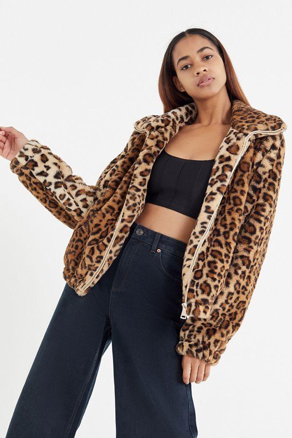 8077b23b3a47 UO Leopard Print Faux Fur Jacket