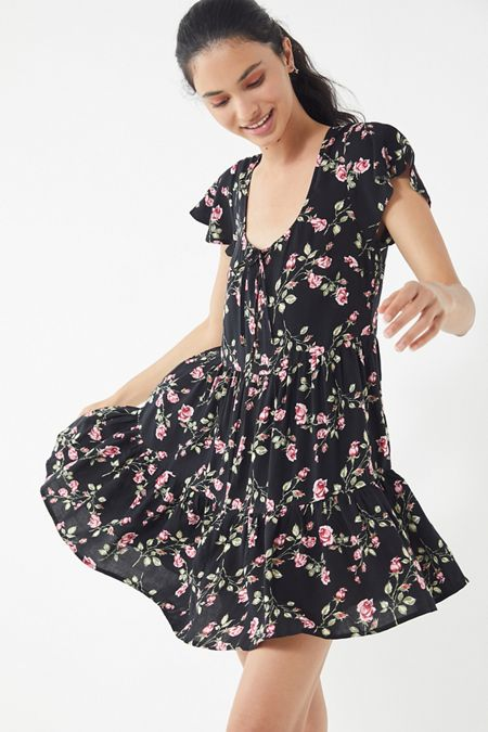 727939f2340 UO Floral Tiered Babydoll Dress
