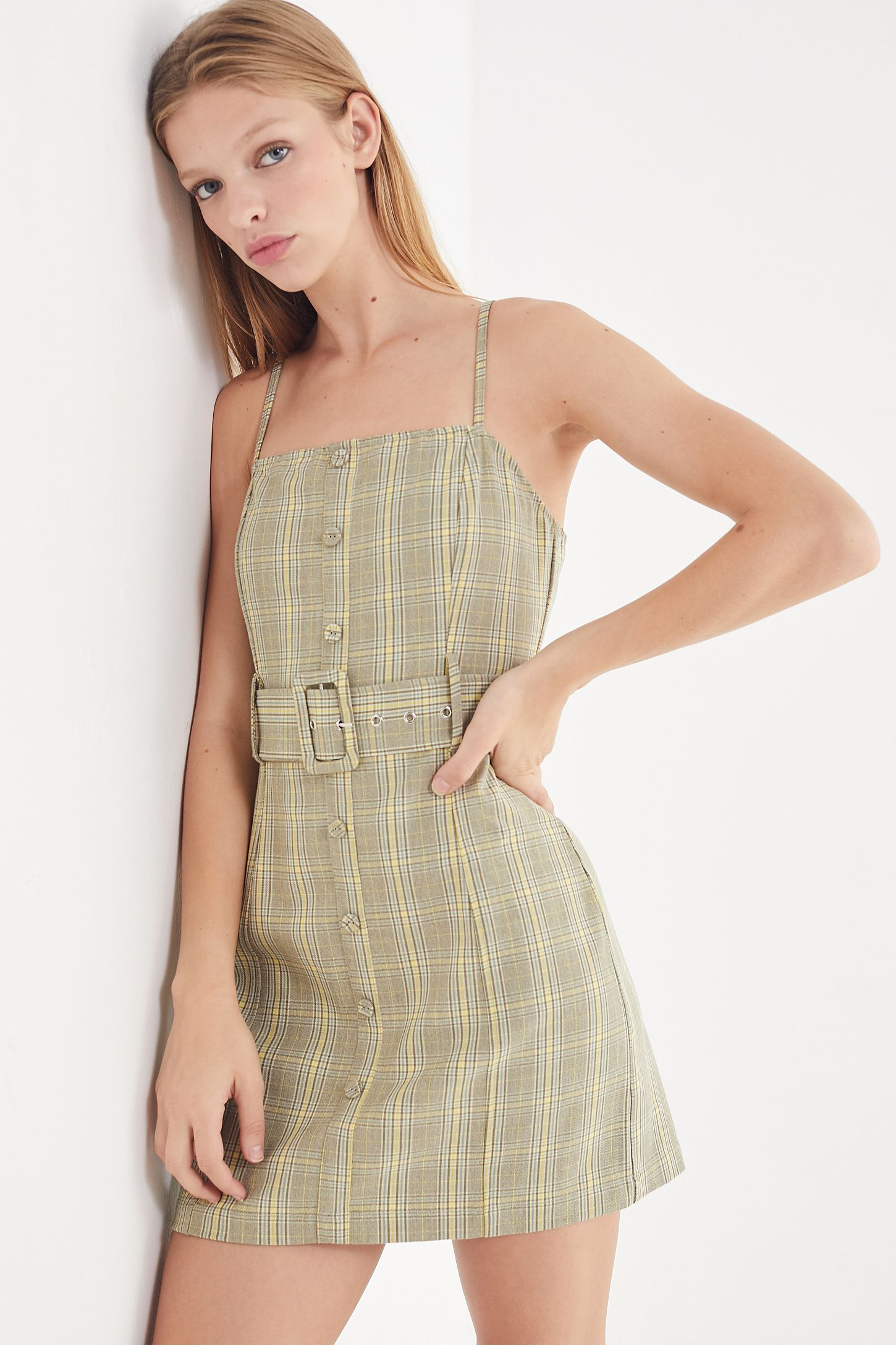 17852f655c72 UO Belted Gingham Button-Down Mini Dress | Urban Outfitters
