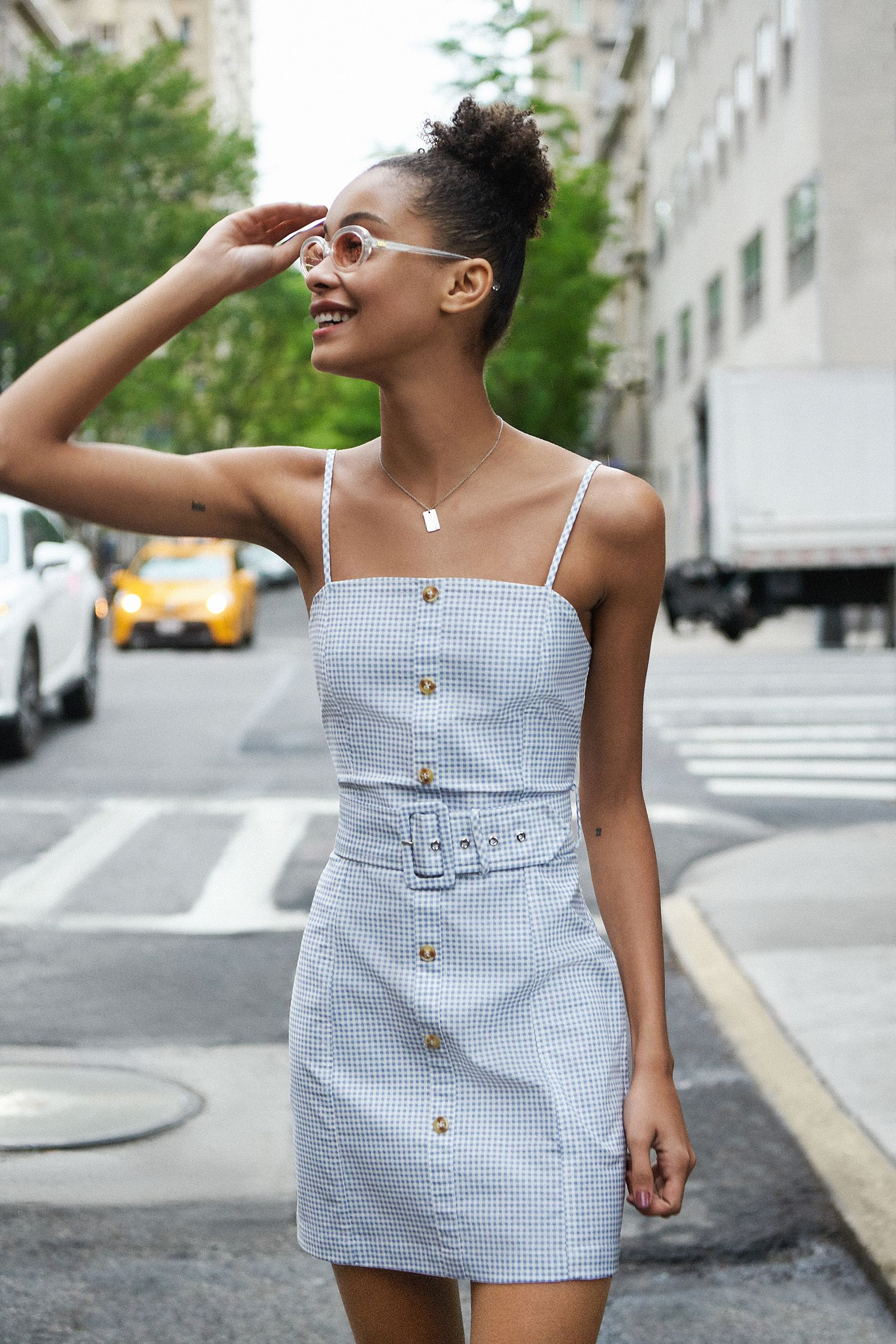 b09329283aff UO Belted Gingham Mini Dress. Tap image to zoom. Hover to zoom. Double Tap  to Zoom