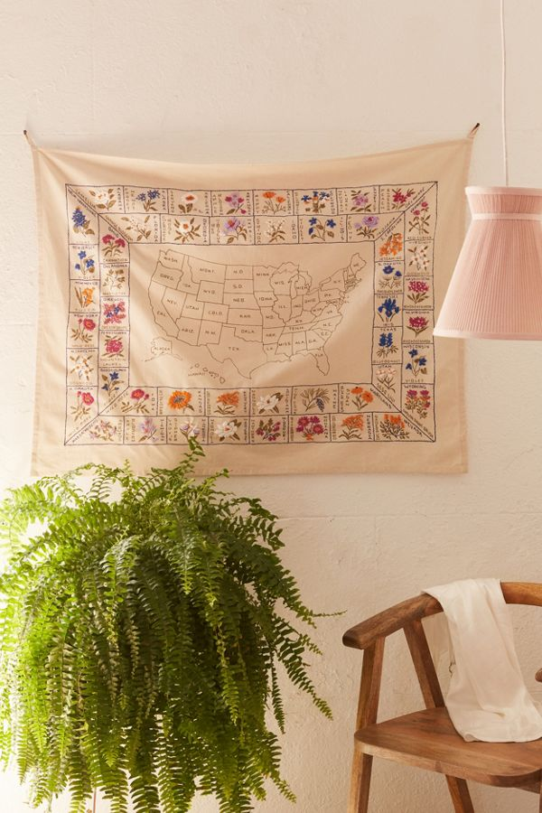 State Flower Embroidered Tapestry