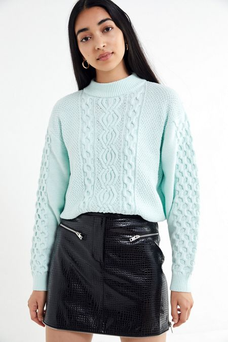 3cfb69a0fe UO Austin Mock-Neck Cable Knit Sweater
