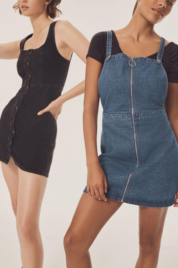 2e35a2052a0 UO Denim Zipper Cross-Back Dress