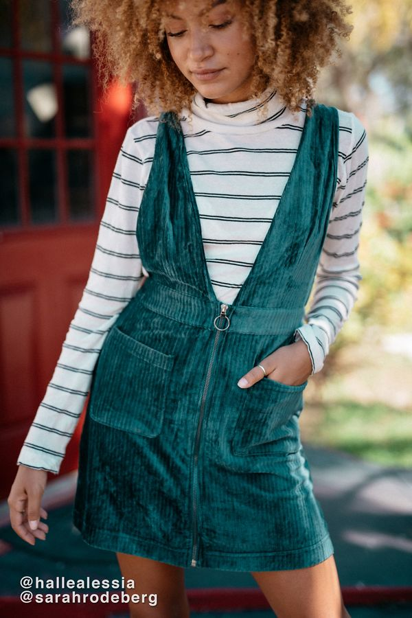 82dc61c14 Moon River Plunging Corduroy Pinafore Dress | Urban Outfitters