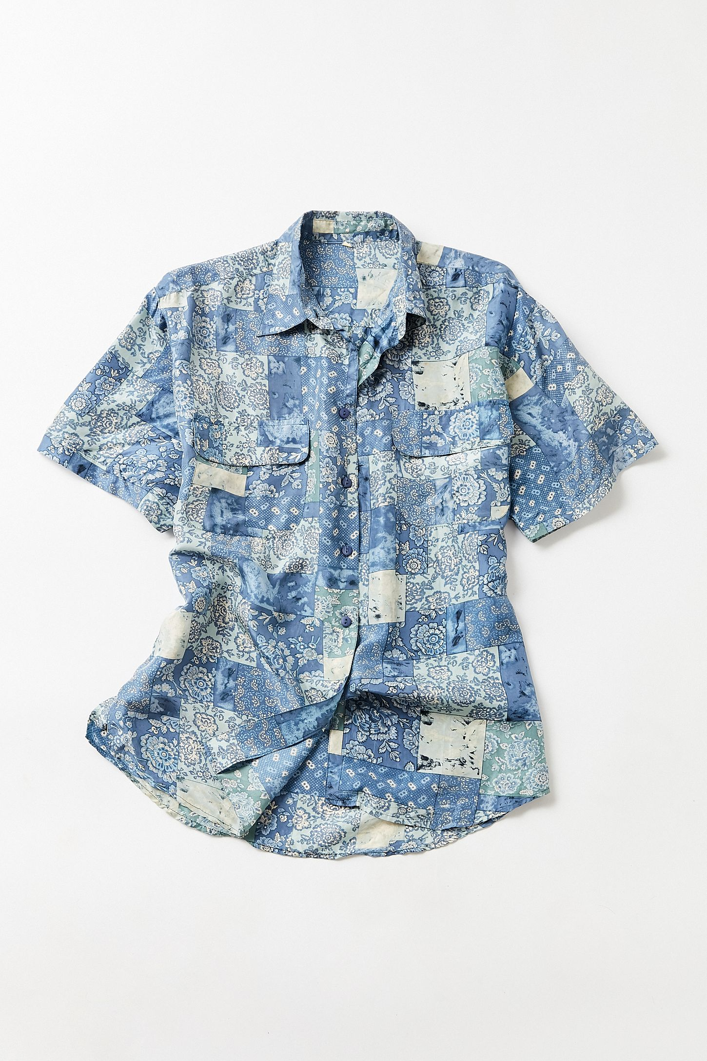 f6b71d59 Vintage '90s Blue Floral Silk Short Sleeve Button-Down Shirt | Urban ...