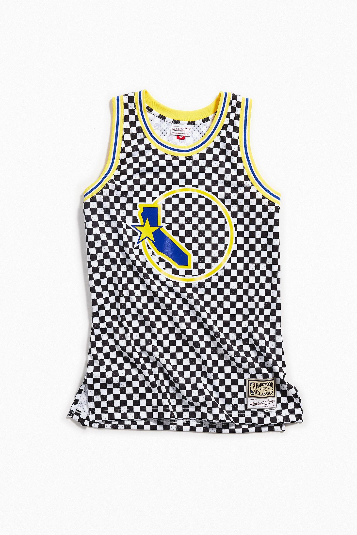 buy popular 13a4d 89e4c Mitchell & Ness Golden State Warriors Checkered Swingman Basketball Jersey