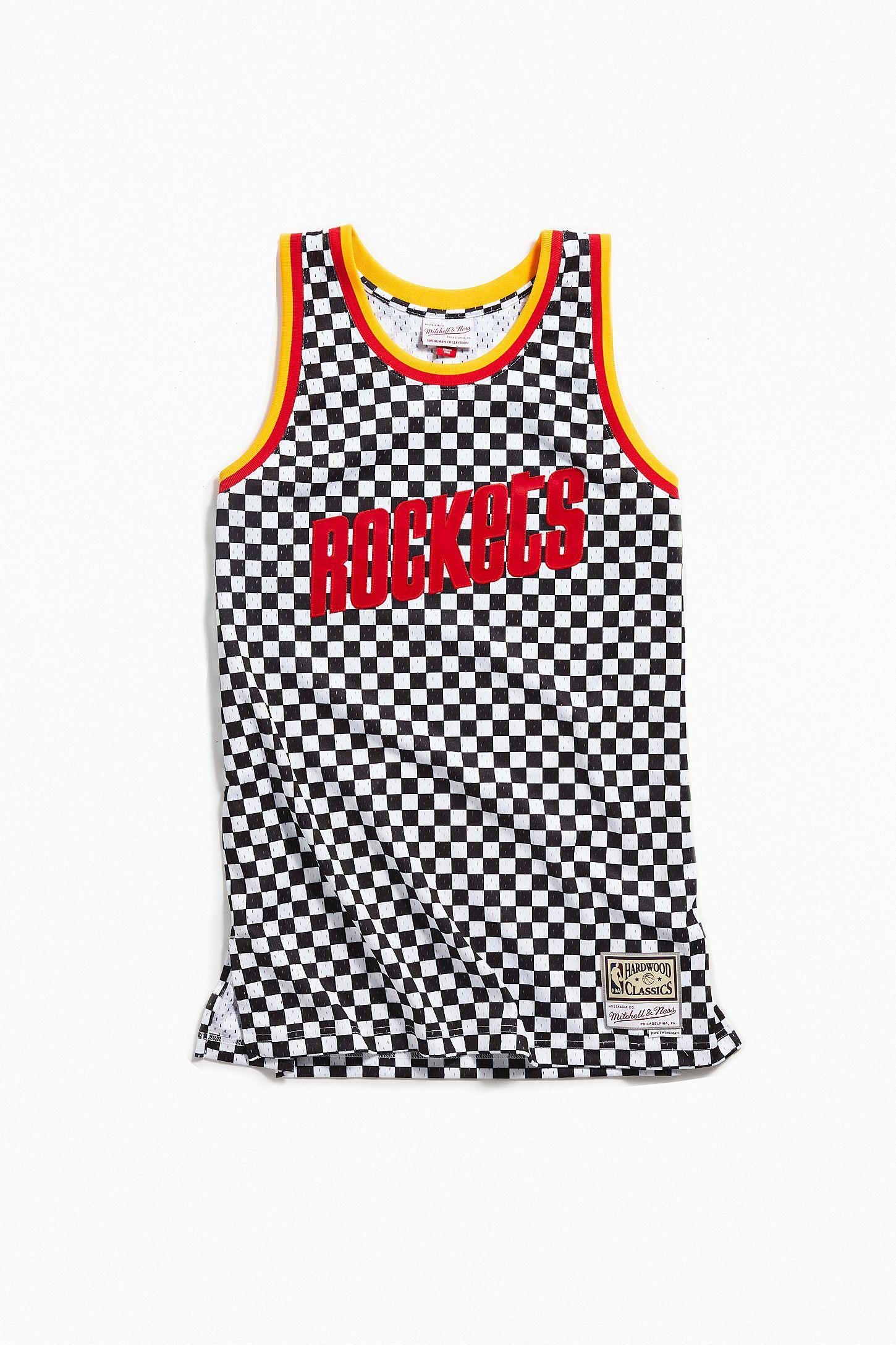 new style 9addb e09e7 Mitchell & Ness Houston Rockets Checkered Swingman Basketball Jersey