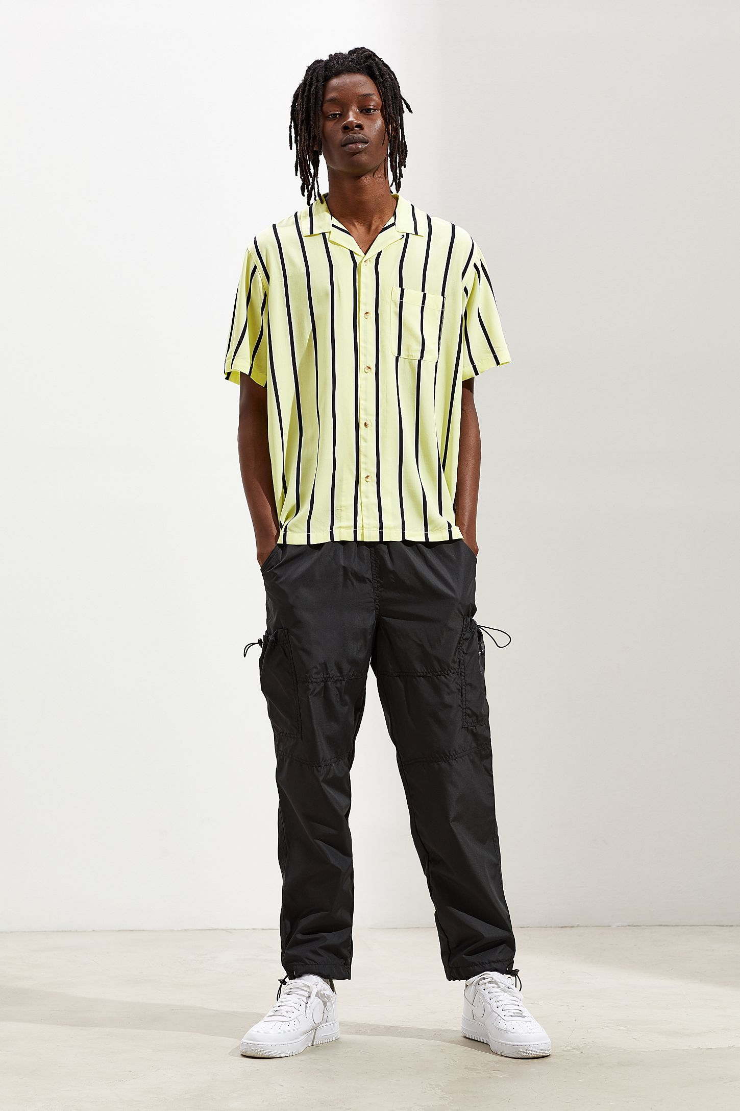 5f94823e7 Slide View  6  UO Sport Striped Rayon Short Sleeve Button-Down Shirt