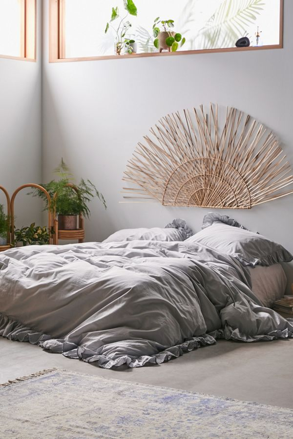 Slide View: 1: Washed Cotton Overscale Ruffle Duvet Cover