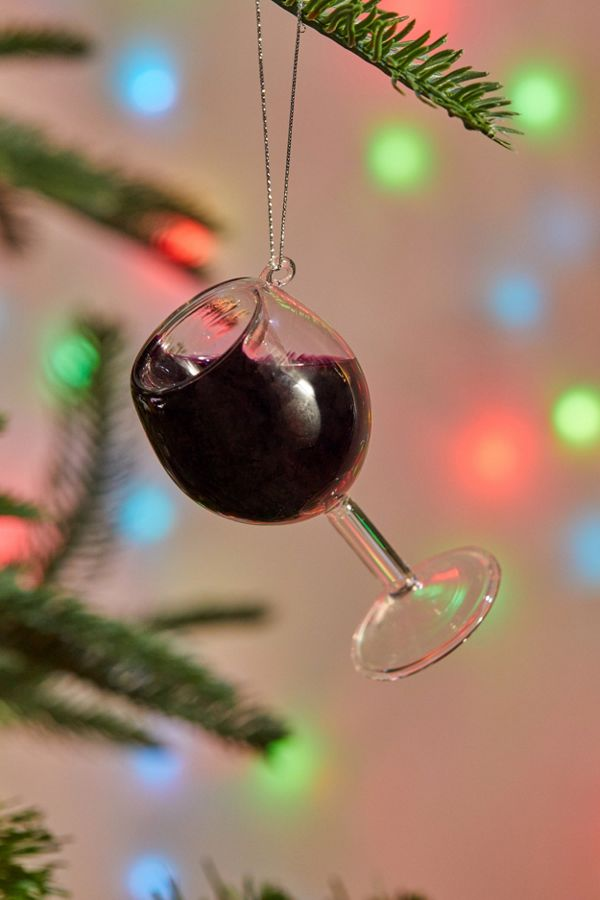 Red Wine Glass Christmas Ornament
