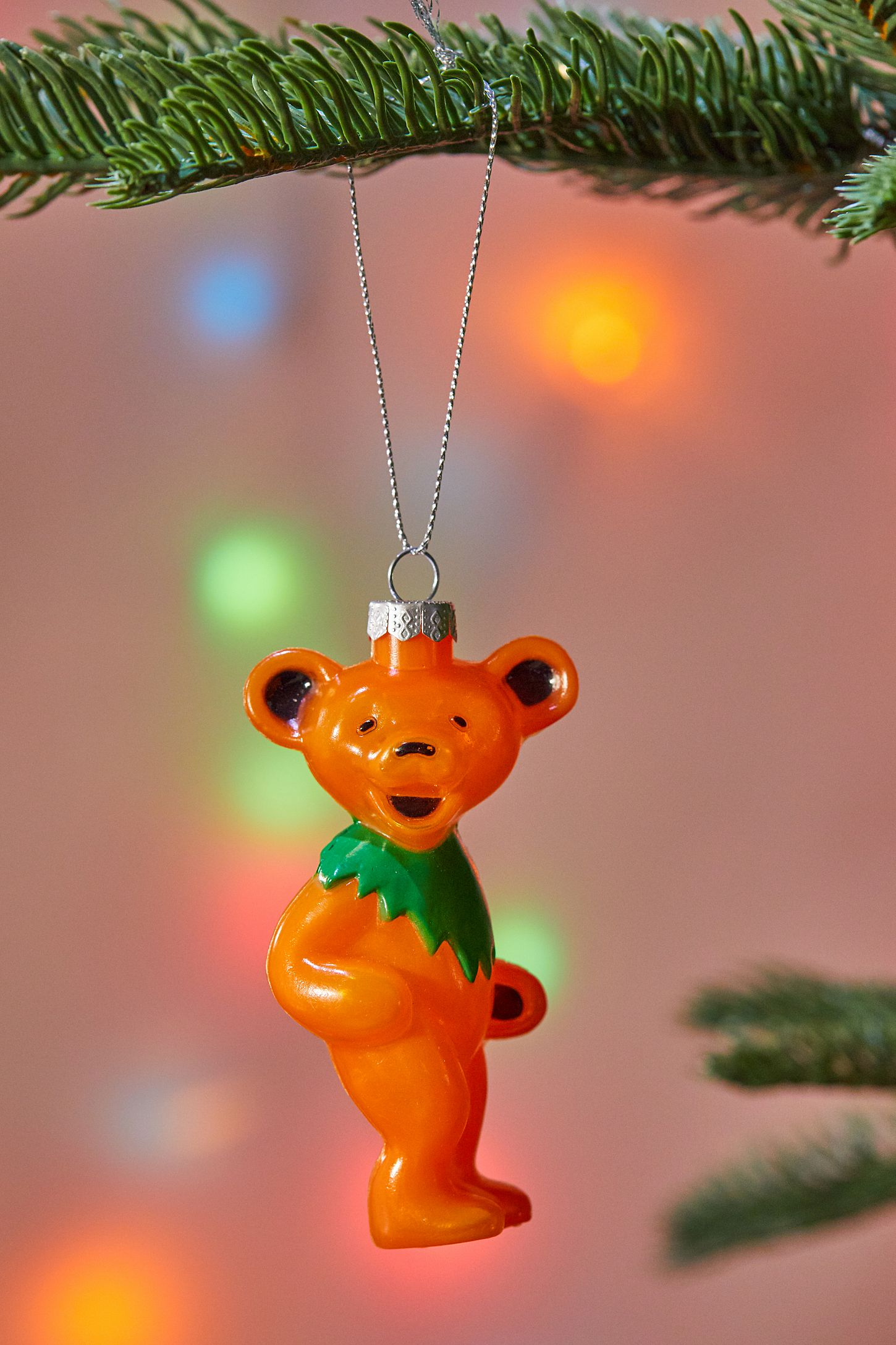 Grateful Dead Christmas Ornament.Orange Grateful Dead Bear Christmas Ornament