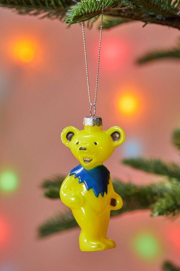 Grateful Dead Christmas Ornament.Yellow Grateful Dead Bear Christmas Ornament