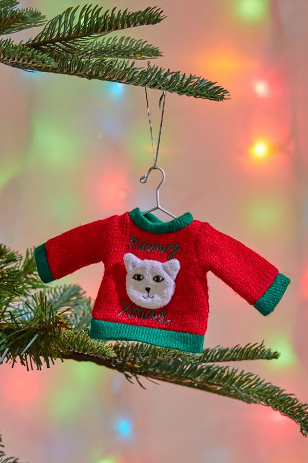 Urban Outfitters Ugly Christmas Sweater.Ugly Sweater Meowy Christmas Ornament