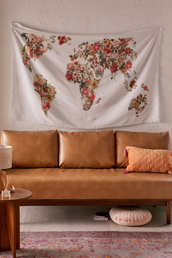 Floral Map Tapestry trendy perfect gift for female travel lovers
